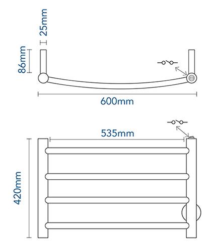 4 bar heated towel rail